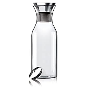 Hiware 35 Oz Glass Carafe with Stainless Steel Silicone Flip-top Lid - Glass Water Pitcher Fridge Ice Tea Maker |