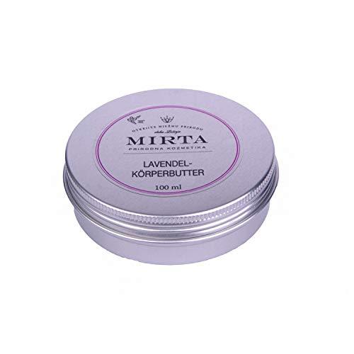 Mirta Naturkosmetik Lavendel Körperbutter, 100ml, vegane Körperpflege, reichhaltige Naturkosmetik, Feuchtigkeitspflege mit Shea- und Kakaobutter für trockene und raue Haut