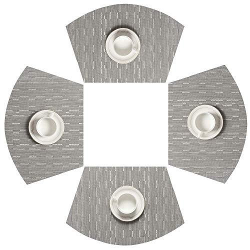 SHACOS Manteles Individuales PVC Set de 4 salvamanteles de Vinilo Lavable Aislamiento de Calor Resistente al Desgaste(Gris Plateado)