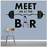 Etiqueta De La Pared Del Gimnasio Frase En El Bar Chicas Fitness Ejercicio Vinilos Adhesivos De Pared En La Decoración Del Hogar De La Sala De Estar Meet Me 42X66Cm