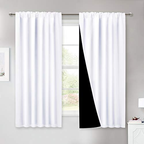 NICETOWN Pure White 100% Blackout Lined Curtains, 2 Thick Layers Completely Blackout Window Treatment Thermal Insulated Drapes for Kitchen/Bedroom (1 Pair, 52 inches Width x 63 inches Length)
