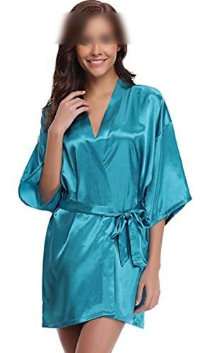 who-care Kimono-Bademantel für Damen, Seide, Brautjungfer, sexy, Marineblau,...