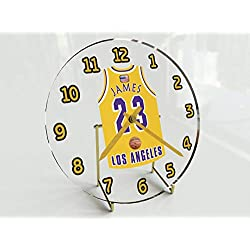 Basketball Legends Table Clocks - 7 X 7 X 2 N B A Jersey Themed Limited Edition Legend Clock (L.James 23 LAL Edition)