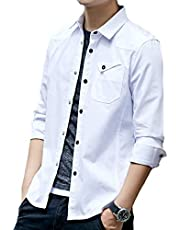 [メリュエル] シャツ 長袖 S~2XL ベーシック カラー シャツジャケット カジュアル コットンシャツ メンズ