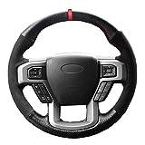 YHDNCG Cubiertas de la Rueda de Cuero Cosido a Mano Transpirable Negro DIY de dirección, para Ford F150 F150 King Ranch Lariat XLT Platinum XL 2015 2016 2017 Volant Gamuza