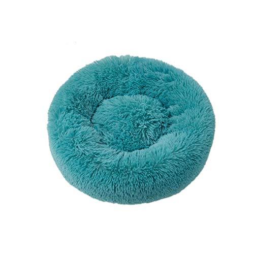 Pet bed Saco de dormir largo de felpa súper suave para perrera de perro redondo y gato cálido, cojín para cachorro, suministros para gatos y perros, color verde oscuro, 50 cm