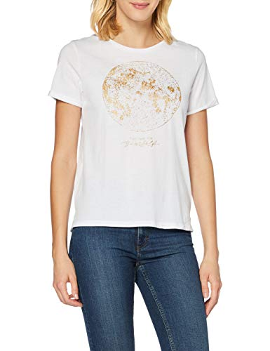 Springfield Camiseta Gráfica Luna T-Shirt, Blanco, S Womens
