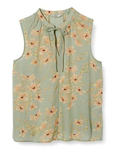 ONLY Damen ONLCLARA S/L V-Neck TOP WVN Bluse, Desert Sage, 38