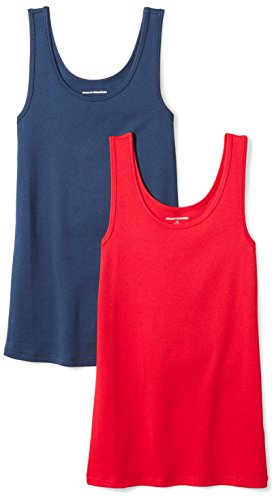 Amazon Essentials Women's 2-Pack Slim-Fit Tank, Red/Navy, Large