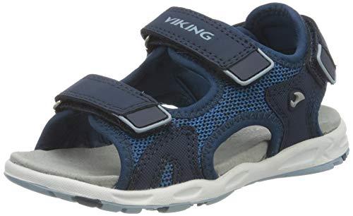 viking Anchor Sportsandale, Sandale de Sport Garçon Mixte Enfant, Bleu Clair Bleu Marine 5605, 24 EU