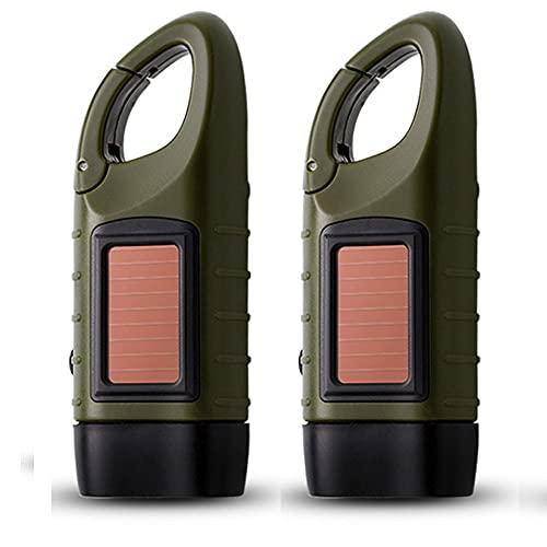 Hasey Camping Lights - Linterna de mano recargable, solar, luz de emergencia, portátil, con gancho para colgar, color verde militar (2))