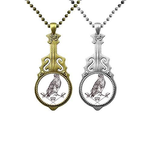 Halskette mit Adlerkronen-Anhänger, Barock-Stil, Musik-Gitarre, Schmuck