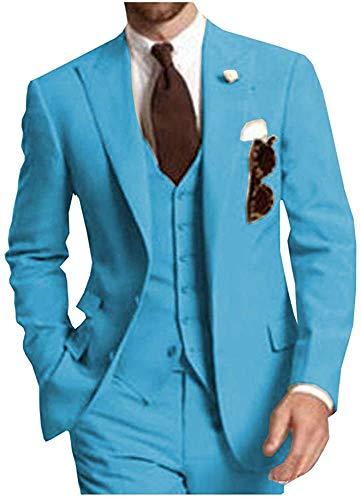 Men's Suits Slim Fit 3 Piece Tuxedos Casual Separates-Custom Shawl Lapel Prom Groomsmen(Blue,Customize