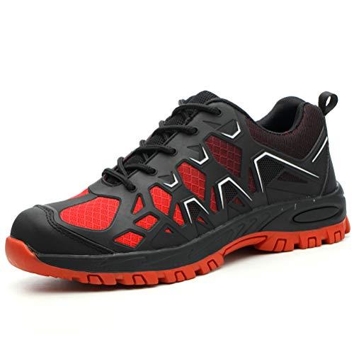 AIXSHOE Sicherheitsschuhe Herren für den Sommer, s3 Komfort Atmungsaktive Arbeitsschuhe rutschfest Sportliche Schuhe,Red,43EU