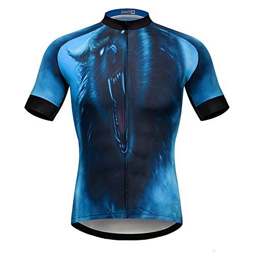 Maglia da ciclismo uomo con stampa leone, maglietta da ciclismo manica corta traspirante ad asciugatura rapida per l'estate Maglie bici da fuoristrada all'aperto