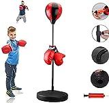 GYPPG Bolsa de Boxeo Reflectante de pie Ajustable Ajustable Saco de Boxeo de Velocidad Equipo de Entrenamiento de Pelota de Boxeo de Boxeo - Bolsa de Kickboxing para niños Que entrenan en casa