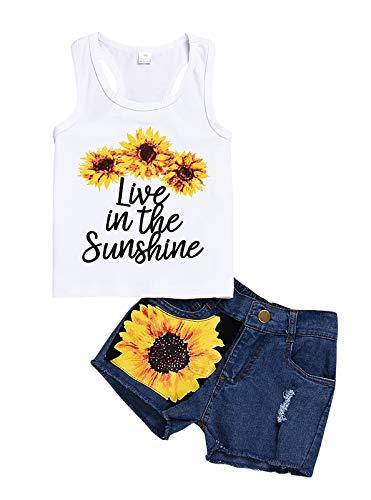 WonderBabe Conjunto de verano para bebé, niña, 2 unidades, con volantes y flores, diseño de girasol, camiseta y rejilla de flores, pantalones cortos para niños White-1074 3-4 Años