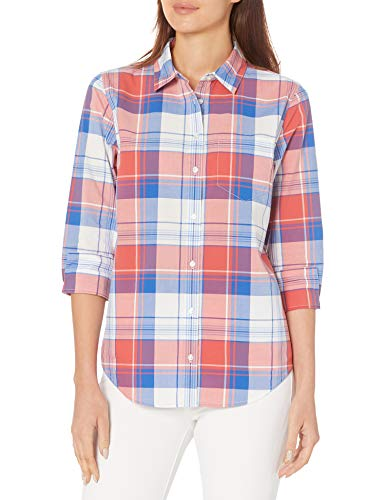 Amazon Essentials Classic-Fit 3/4 Sleeve Poplin Athletic-Shirts, Red, White and Blue Plaid, M