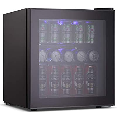 Joy Pebble Beverage Cooler and Refrigerator 60 Can Mini Fridge with Glass Door for Soda Beer or Wine Small Drink Cooler for Home Office or Bar (1.6 cu.ft)