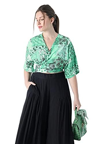 Bolero grande para mujer verde viscosa estampada JeanMarcPhilippe verde 42-44