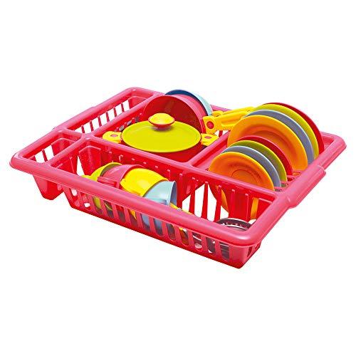 Bino Geschirr Set Gedeck für die Puppenküche Spielzeug für Kinder ab 3 Jahre (33-Teilig, für 4 Personen, robust und langlebig, inkl.: Topf mit Deckel, Pfannen, Tassen, Besteck uvm.), Bunt