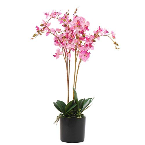 Kunstpflanze Orchideenblatt, realistisch, 60 cm, Rosa