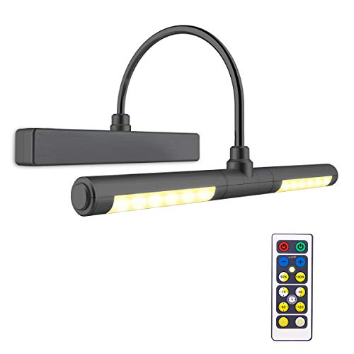 Biglight Bilder-Licht-Fernbedienung, kabellos, batteriebetrieben, 33 cm, drehbarer Lichtkopf mit 180 Grad Schwenkarm und Helligkeitsdimmer für Innendekorationen, Bilder, Diplome, Schwarz