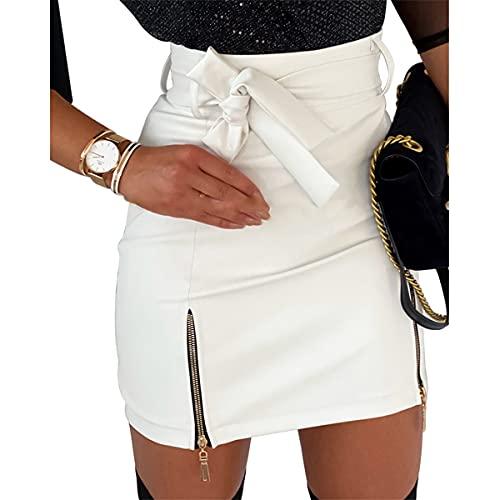 I3CKIZCE Minifalda de mujer con cordón, falda corta, tubo/cintura alta, con abertura lateral, ajustada, informal, sexy, elegante, chic y vintage