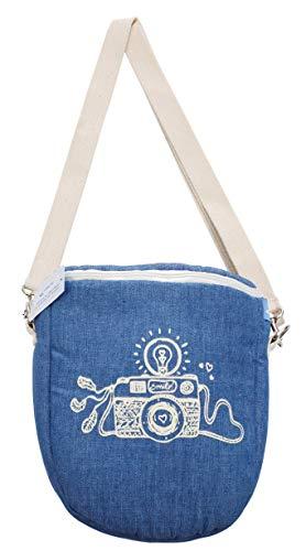 Kameratasche Fototasche Tasche Aufbewahrung Fotoaparat DSLR SLR Spiegelreflex Kamera 18 x 8 x 17 cm Tragegurt Blau Polsterung Weiße Druck Faire Trade Ringelsuse