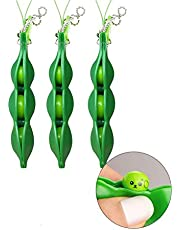 WYUE 3 Pcs Fidget Toys, Squeeze-a-Bean Fidget Toy Set Extrusion Bean Stress Relief Anti-Anxiety Toy Pea Keychain Soybean for Phones Keys Backpack Gift Toy