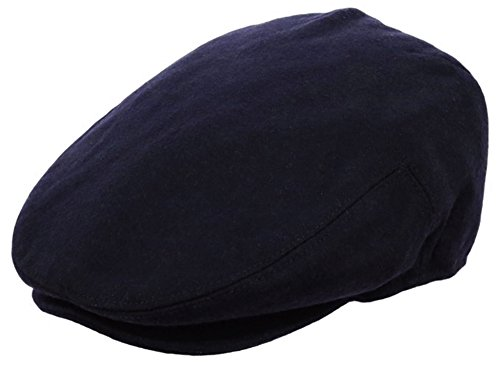 EPOCH Men's Classic Newsboy Cap, Flat Ivy Hat, Snap Brim Herringbone Tweed Cap (Large, 1581-Navy)