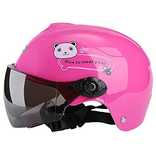 Casco de bicicletas para niños, Cascos de motocicletas infantiles Gafas de protección UV Adecuados para bicicletas Motocross Motocross Bicicleta eléctrica ciclomotor Casco de niños Edad 3 a 9,Rosado