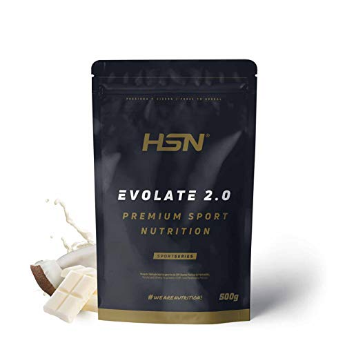 Aislado de Proteína de Suero de HSN Evolate 2.0 | Whey Protein Isolate | Proteína CFM + Enzimas Digestivas (Digezyme) + Ganar Masa Muscular | Vegetariana, Sin Gluten, Sin Soja, Choco Blanco Coco,500g