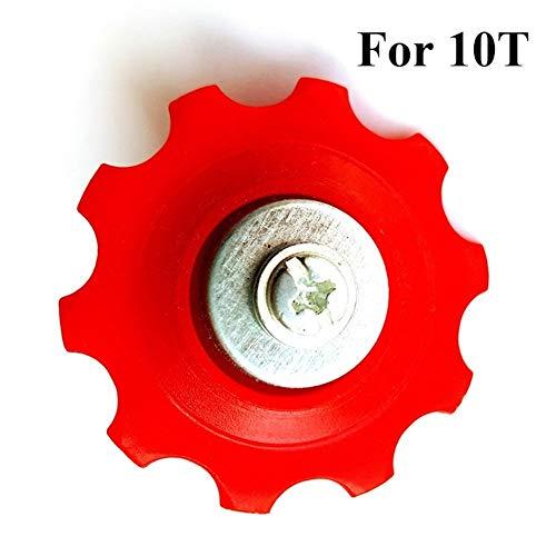 NOBRAND 1pc Bicicletas Cambio Trasero Rueda la Resina 6/7 / 8S MTB Bicicleta de Carretera 10T / 13T / 15T Guía de Ciclismo de rodamiento de Rodillos Polea Riding Accesorios (Color : 10T Red)