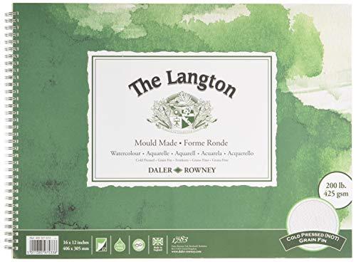 Daler-Rowney The Langton - Bloc de espiral para acuarelas (40,6 x 30,5 cm, 425 g/m2)