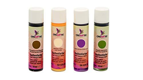 CREARTEC 4er Set Seifenfarben - Sortiment 4 x 10ml Opakfarben Set - Elfenbein, Schokobraun, Violett, Olivgrün - für die individuelle Seifenherstellung - Made in Germany