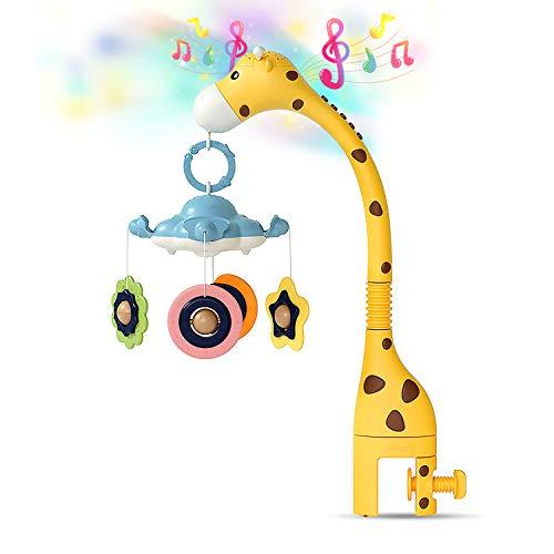 AJAMQ Móvil Cuna Musical Bebé,Cuna Móvil con Luz Nocturna Y Proyector para Cunas con Música,Soporte Móvil Musical para Cochecito Y Cunas Juguetes con Sonido para Bebés Recién Nacidos