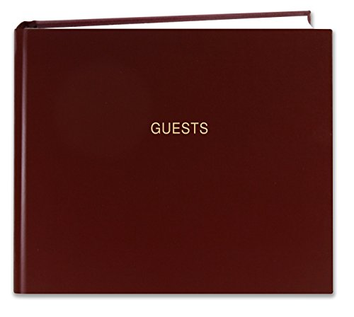 BookFactory Guest Book (120 Pages) / Guest Sign-in Book/Guest Registry/Guestbook - Burgundy Cover, Smyth Sewn Hardbound, 8 7/8' x 7' (LOG-120-GUEST-A-LMT25)