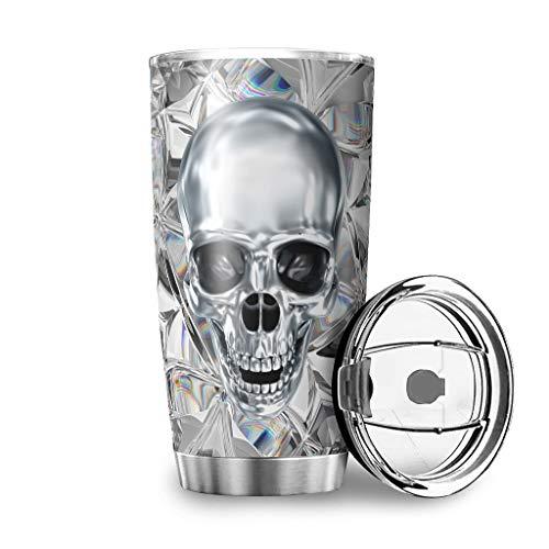 Homedb Edelstahl Tassen Diamant Totenkopf Schädel Becher Doppelwandige Vakuum Reisebecher 600 ml Travel Mug mit Spritzfestem Deckel Reiseflasche Kaffeebecher to go Thermobecher White 600ml