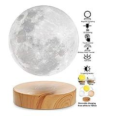 VGAzer Floating Moon Lamp, pływające w powietrzu free pływające i przędzenia z drewnianą podstawą i Moonlight print 3D, dla unikalnych prezentów, wystrój pokoju, światło nocne, Desk Tech Toy