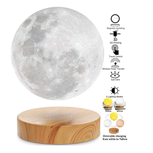 VGAzer Levitating Moon Lamp,Floating and Spinning in Air Freely with 3D Printing LED Moon Lamp Has 3 Colors Modes(YE,WH,Change from WH to YE) for Unique Gifts,Room Decor,Night Light,Office Desk Toys