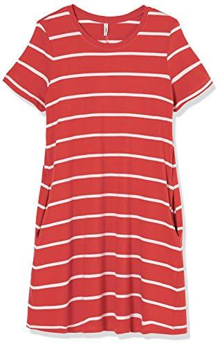 ONLY Damen ONLMAY Life S/S Pocket A-LINE Dress JRS Kleid, Mineral Red, L