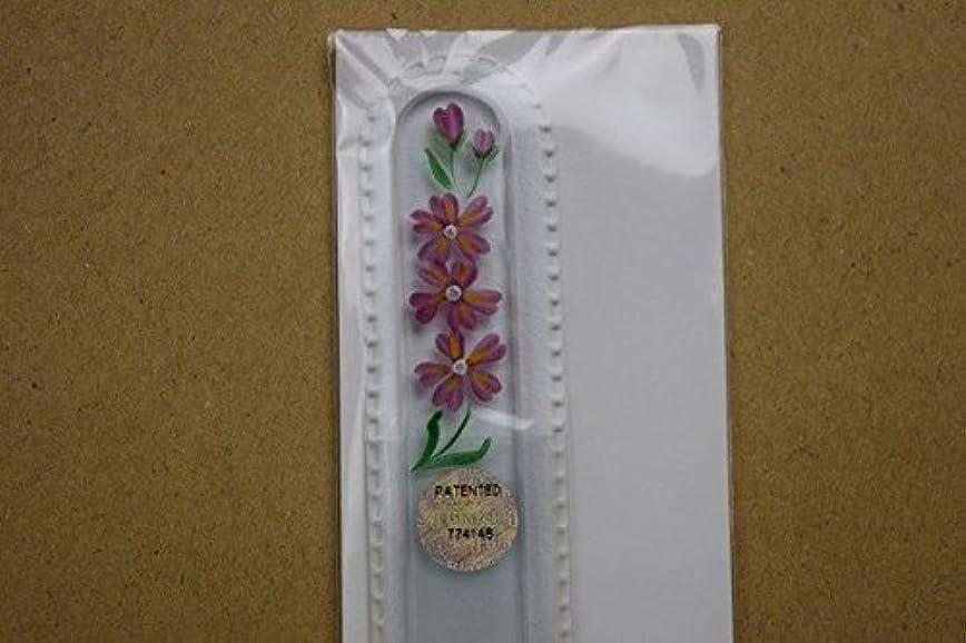 地区カトリック教徒灌漑【ブラジェク】ガラス爪やすり ハンドペインティング(#502)ピンク色の花の絵