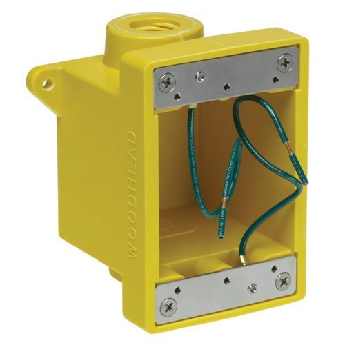 Woodhead 453CR Watertite FD Box, 2 Knockout Openings, Yellow, 3/4