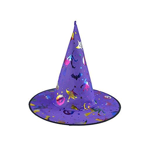 Sombrero de Bruja de Calabaza para Mujer Adulta de 1 Pieza para Accesorio de Disfraces de Halloween Gorra de Bruja con Calabaza patrón