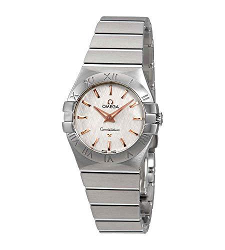 Omega Constellation bianco opalino-argento quadrante orologio da donna 123.10.27.60.02.004