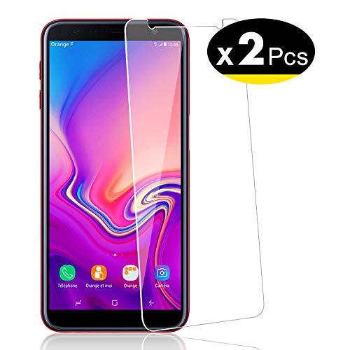 NEW'C 2 Unidades, Protector de Pantalla para Samsung Galaxy J6 Plus (2018), Antiarañazos, Antihuellas, Sin Burbujas, Dureza 9H, 0.33 mm Ultra Transparente, Vidrio Templado Ultra Resistente