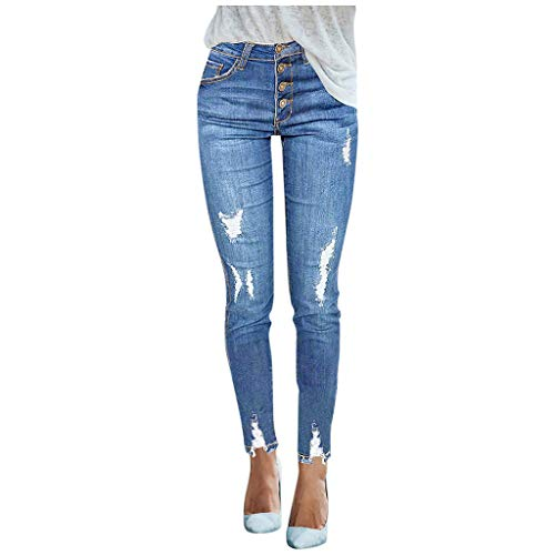 Kiminana Women's Elastic Waist Skinny Stretch Button Denim Jeans Pants Comfy Slim Long Trousers Blue
