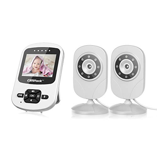 Campark Baby Monitor with Dual Cameras Digital Cam with Infrared Night Vision 2.4' LCD 2.4GHz...