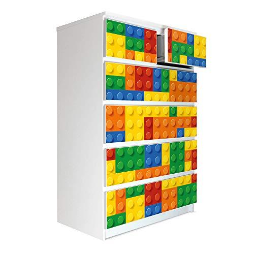 banjado Möbelaufkleber passend für IKEA Malm Kommode 6 Schubladen | Selbstklebende Möbelfolie | Sticker Tattoo perfekt für Wohnzimmer und Kinderzimmer | Klebefolie Motiv Bausteine